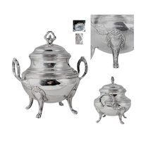 Antique French Sterling Silver Sugar Casket, Lidded Sugar Bowl by Louis Coignet, Guilloche Decor