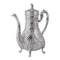 Rococo Stunning Antique French Sterling Silver Teapot or Coffee pot, Ferry Silversmith Hallmark, Napoleon III era