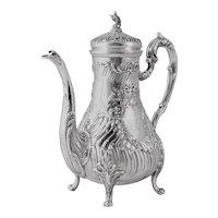 Rococo Stunning Antique French Sterling Silver Teapot or Coffee pot, Ferry Silversmith Hallmark, Napoleon III era