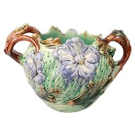 Stunning Antique French Art Nouveau Majolica Cache pot jardiniere Planter Circa 1900