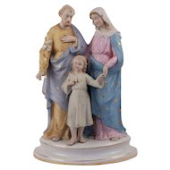 Fabulous French Huge Religious Holy Family Bisque Statue Figure Saint Joseph Virgin Mary and Child Jesus Christ Circa 1880
