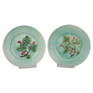 Antique French Pair Of Majolica raspberry Plate 19th Century