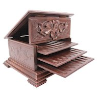 French Antique Carved Black Forest Cigar Wood Box 19th Century