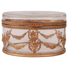 19th Century French Antique Elegant Oval Large Baccarat Crystal Casket Gild Ormulu Box Louis XVI Style