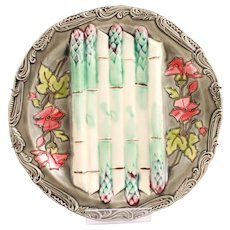 Wonderful & Rare French Antique Majolica Asparagus Platter From the French Longchamp Terre de Fer Manufacture Circa 1880