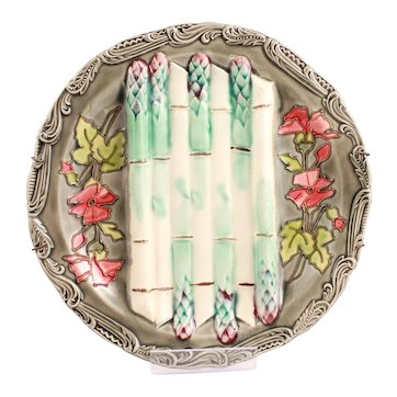 French Antique Majolica Asparagus Platter From the French Longchamp Terre de Fer Manufacture Circa 1880