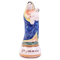 Divine French Antique Virgin Mary & Jesus Child Terracotta Sculpture Quimper 19th Century Circa 1800