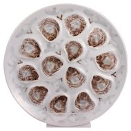 French Vintage Majolica Oyster Platter Saint Amand Manufactory Circa 1950