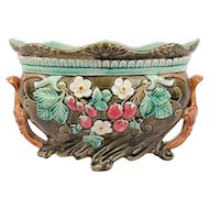 Antique French Majolic Art Nouveau Jardiniere Planter by Frie Onnaing with Flourish Decor of Strawberries & Glazed Earthenware Pottery Cache Pot