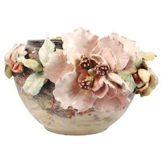 Signed Edouard Gilles Marvelous French Antique Barbotine Majolica Impressionist Jardiniere Planter in high floral relief