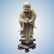 Chinese Soapstone Carved Figure of Louhan