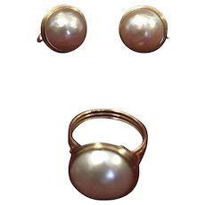 Mabe Pearl Set of Earrings and a Ring