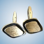 Sterling Silver Cufflinks Two Tone Finish c.1950s