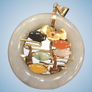 14K Gold Jade Pendant in Multi Colors