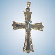 14k Yellow Gold Cross with Blue Topaz