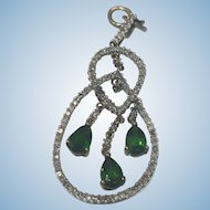 Beautiful 10k White Gold with Diamonds and Green Stones