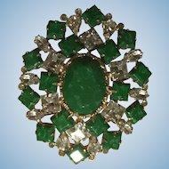 Gorgeous Vintage Arnold Scaasi 1960s Emerald Green Rhinestone Large Brooch Pin Art Deco