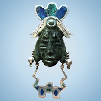 Mayan Ruler Necklace Sterling Silver Jade Carving Pendant