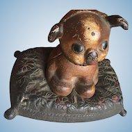 Hubley Cast Iron Fido Dog on pillow Money Bank