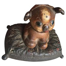 Hubley Cast Iron Fido Dog on pillow Money Bank