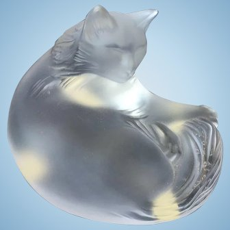 LALIQUE Happy Cat Figurine, Signed MIB,