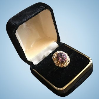 Beautiful 18k Yellow Gold Ring with Amethyst And European Cut Diamonds