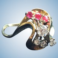 14k Yellow Gold Retro Ring with Rubies and Diamonds