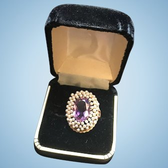 Beautiful 14k Yellow Gold Ring with Amethyst And Seed Pearls