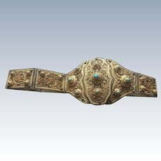 Russian Gilt silver belt with turquoise stone with filigree