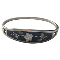 Silver Bracelet with Onyx and Mother of Pearl Mexican