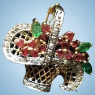 14k Gold Basket with Diamonds and Rubies and Emeralds pendant