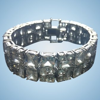 Sterling Silver Bracelet with Rhinestones