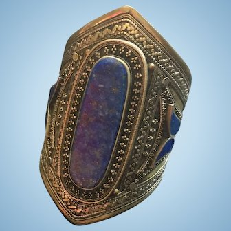 Ethnic Central Asian Silver Lapis And Turquoise Bracelet Cuff