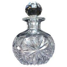 American Brilliant Period Cut Glass Cologne Bottle