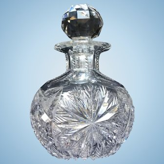 American Brilliant Period Cut Glass Cologne Bottle