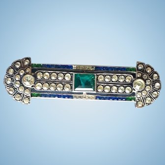 German Art Deco period sterling silver brooch with green blue colored rhinestones