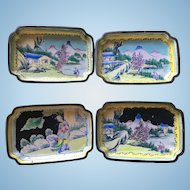 Set of 4 trays Canton enamel Day and Night