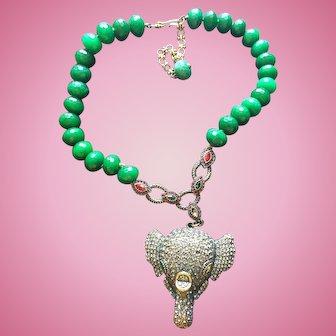 HEIDI DAUS Imperial Elephant Emerald Necklace