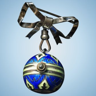 Sterling Silver Ball Watch with Enamel and a Bow