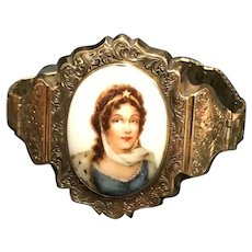 Victorian Gold Bracelet with a Porcelain Portrait of a Woman