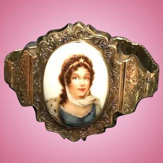 Victorian Gold Bracelet with a Porcelain Portrait of a Woman