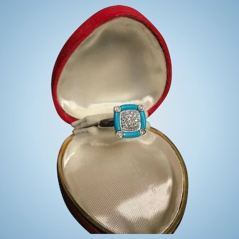 Beautiful White Gold Ring 18k with Diamonds and Turquoise Enamel