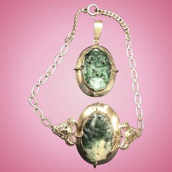 Sterling Silver Jade Set Bracelet anda Pendant