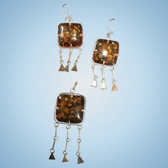 Beautiful 18k Gold set with Baltic Amber