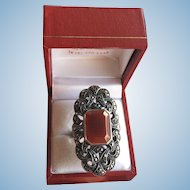 Art Deco Carnelian and Marcasites Sterling Silver Ring