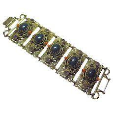 Vintage 1960's Unsigned Selro Wide Rhinestone Bracelet