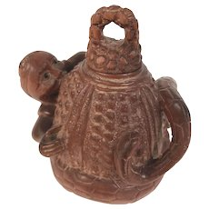 Antique Asian Rosewood Whiskey Flask Mersnake
