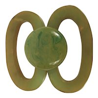 Vintage Bakelite Brooch Marbled Green