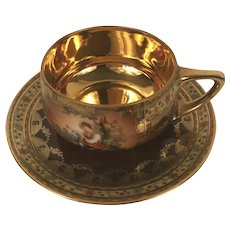 Karlovy Vary Hand Painted Gilded Czech Demitasse Cup & Saucer