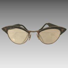 Vintage 1950's American Optical Cat Eye Glasses Gold Filled